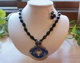 Black Gemstone Pendant Necklace Set,  Women's Black Necklace, Black Statement Necklace