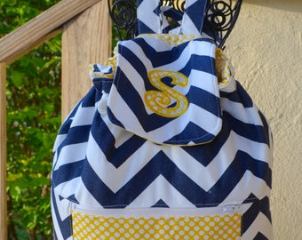 Drawstring Backpack-Personalized Gymnastics Backpack - Gymnastics- Chevron Backpack- School Backpack