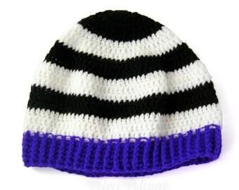 Stripey Beanie Hat Beetlejuice Cosplay Striped Hat Gothic Crochet Beanie Monochrome Hat Black White Purple Hat Womens Knit Hat Spooky Beanie