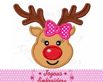 Instant Download Reindeer For Girls Applique Embroidery Design NO:2239