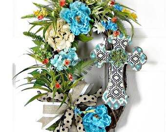 Cross Wreath, Door Wreath, Blue Wreath, Oval Wreath, Mantel Wreath, Cross Wreaths, Religious Wreaths, Hydrangea Wreath