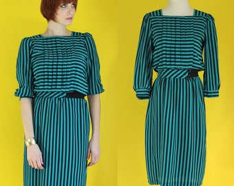 Vintage 80s Striped Dress - Teal Dress - Black Stripe Belted Dress - Knee Length Secretary Dress - Elastic Waist Pleated Dress - Size Small