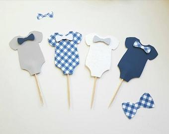 Onesie Cupcake Topper, Baby Shower Decor, Cake Topper, Onesie Themed Baby Shower, Gender Reveal, It's a Boy,