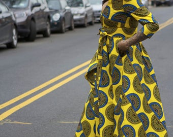 Angelitos Negros  - Part I - Yellow African Ankara Wax Print Dress