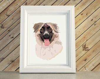 Dog Portrait Illustration Bust Caricature Gift or Pet Memorial Remembrance Artwork Christmas Gift Keepsake