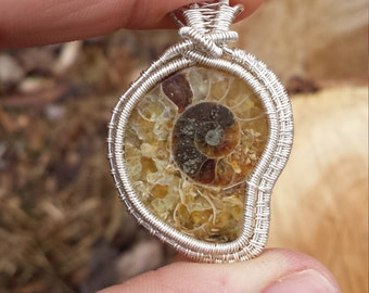 Golden Ammonite Fine Silver Wire Wrapped Pendant