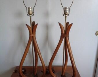 Vintage,Mid Century,Modern Pair of Tiki Style Table Lamps,Retro Tiki Lamps,Mid Century Lamps,