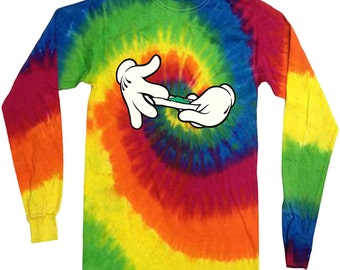 Stoner gifts tie dyed shirt weed pot 420 tee long sleeve shirt for men