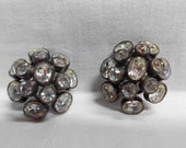 2 Antique Metal Open Back Rhinestone Dome Buttons Bezel Set Unusual Loop Shank Oval Sewing Embellishment Gay 90's Statement Button