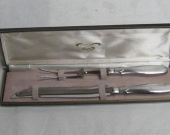 Vintage Carving Set Modern Stainless Steel Handles in Presentation Box by Ekco Holland Knife & Fork Elegant Design