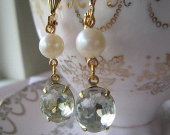 SUPER SALE Vintage white pearl and rhinestone earrings, perfect for weddings.