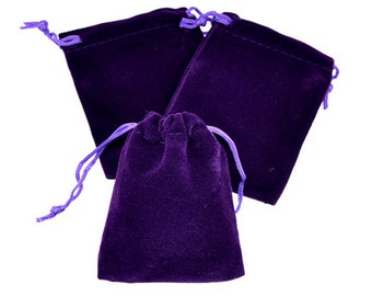 Velvet Pouch - Purple Jewelry Pouch, Velvet Bags, Velvet Pouches, Drawstring Pouch, Jewelry Pouches, Jewlery Bags - Set of 10 Bags