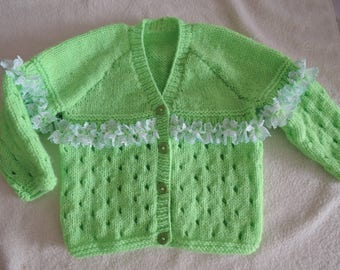 Baby/Toddler Frilly Cardigan Jacket Unique Hand Knitted 22 Inch