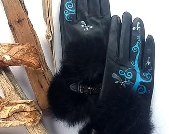 Black Leather Gloves - Hand painted - SIZE 7.5 - ready to ship - autumn - spring - winter - blue ornamet - black - blue -  vintage gloves