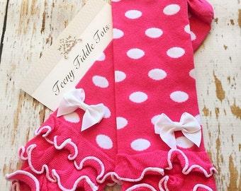 Baby Leg Warmers, Hot Pink Leg warmers, Arm Warmers, Pink Leg Warmers, Poka dot leg warmers