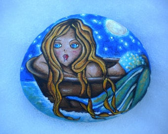 Mermaid Luminous Dreamy Mermaid Hand Painted Rock Beth Baker Artist Whimsical Aqua Mermaid Blonde Hair Love Unique Gift Idea