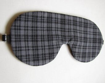Gray and Black Plaid Sleep mask, Adjustable Sleeping Mask, Gray Plaid Sleeping mask, Plaid Eye Mask