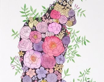 "Original - ""Floral Kitty"""