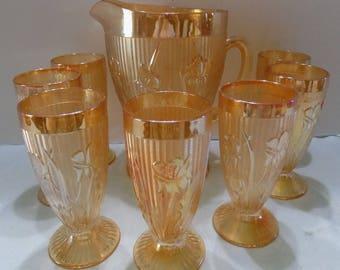 Iris & Herringbone Marigold Pitcher and 7 Glasses/Tumblers