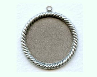 Simple Yet Elegant Rope Edge Oxidized Sterling Silver Plated Brass Settings for a Flatback 25mm  Stone/Cab/Cameo, Outside 39mm X3