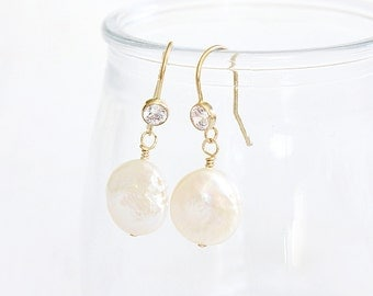 Gold Dangle Earrings Gold Filled CZ Pearl Earrings | Pearl Dangle Earrings | Sample Sale