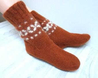Socks hand knitted felted Slippers Leg warmer burnt orange brown size 5  handmade Scandinavian ready to ship Wool small woman children girl