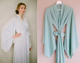 "One custom long ""Noguchi"" kimono robe in faux silk crepe. Long kimono robe Long bridal robe Long silk kimono with pockets Gift for her"