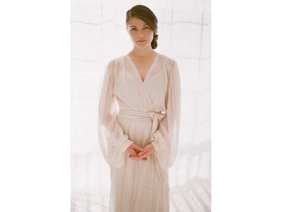 Trieste. One custom long Poet sleeve chiffon boudoir robe Draped sleeves gathered details train and long slip Long Bridal Honeymoon Lingerie