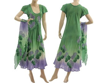 Boho hand dyed maxi dress with scarf, wedding summer party dress cotton in green purple / art to wear small to medium size S-M, US size 6-10