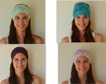 4 HEADBANDS JUST USD.25.- Mint green-Teal blue-Purple-Blush pink stretchy lace headbads-Accessory-Hair bands-Birthday gift-Hair wrap