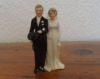 Vintage Wedding Cake Topper Bride and Groom Bisque Germany 20's-30's