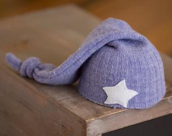 Newborn Star Hat, Newborn Boy Hat, Periwinkle Knot Hat, Upcycled Newborn Hat, Newborn Photography Prop, Newborn Hats, Moon Prop Hat, RTS Hat