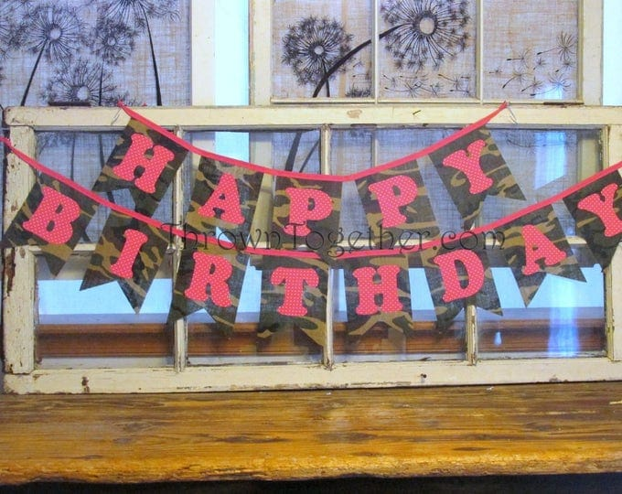 Birthday Banner, Happy Birthday Camo Banner, Hot Pink and Green Camo Banner, Girl Birthday Party