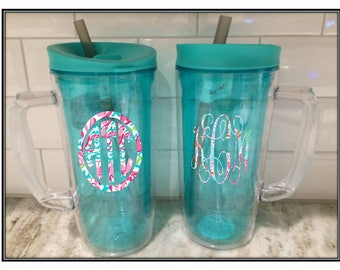 Huge 36 oz. Monogrammed Bubba Envy Mug & Lilly Pulitzer Inspired Vinyl Personalization, Mermaid, Turtle, Mint Insulated with reusable straw
