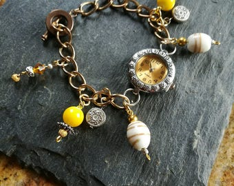 Handmade charm bracelet watch, lampwork glass, and other charm beads
