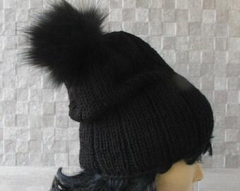 Black Knit Hat Black Mens Beanie Black Womens Hat Faux Fur Pom Pom Different colors  Hat With Pom Pom - Pom Pom Hat - READY TO SHIP