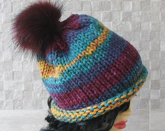 Bohemian Hippie Clothing Super Chunky Hats , Winter Hat, Kniited Beanie , Knit Hat for Women, Trendy Hat With Pom Pom