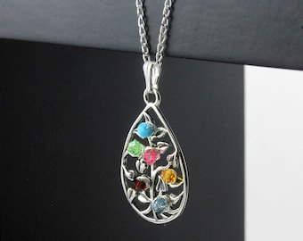 Mothers Day Gift- Tree of Life Teardrop Necklace With Custom Birthstones - Wire Wrapped Tree Teardrop - Sterling Silver Family Tree Necklace