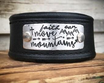 Handstamped Leather Cuff
