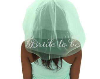 Rhinestone Cursive Bride To Be Mint Green Tulle Veil - Double Layer,  Bachelorette Party Veil, Pink Bachelorette Veil, Bridal Shower Veil