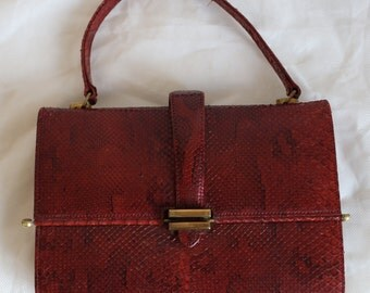 Vintage.HANDBAG RED SNAKESKIN and Leather and Suede interior.Beautiful