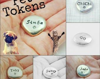 Pet Token, Pet Memorial Gift, Pocket Token, Personalized Pocket Stone, Handstamped Pebble, Dog Lover, Cat Lover, Pocket Pebble, Pocket Stone