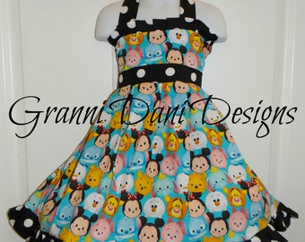 Dinsey tsum tsum halter twirl dress short sleeve  infant toddler black white dot 12 18 24 months 2t 3t 4t 5t olaf piglet winnie the pooh