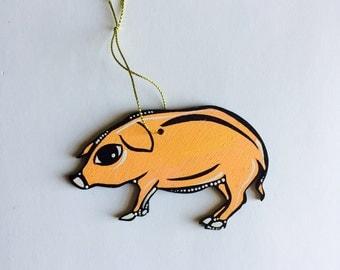 """Pig Ornament - Christmas Tree Decor - 3"""" Original Handmade and Signed Cute Pig Wood Flat Ornament. Pig Gift. Original Art."""