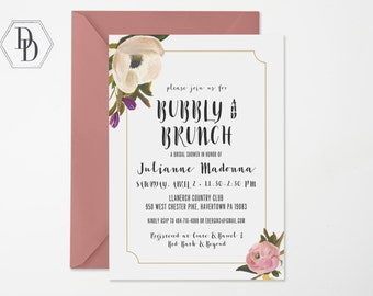 Bubbly and Brunch Bridal Shower Invitation