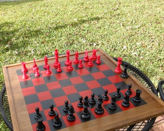 Tornament Size Chess Board-Large Checkerboard-Red and Black Chess Board-Handmade  Chess/Checkerboard-Gameroom Checkerboard Wall Art-