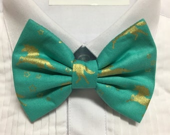 Teal and Gold Foil Metallic Unicorn Print Bowtie / Bow Tie