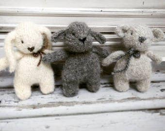 Little Creature stuffed teddy bear, stuffed bunny, Toy sheep/ Knitted teddy bear/toy photography prop/Miniature animal toy