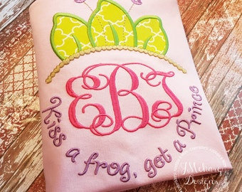 Frog Princess Inspired Monogram Tiara with Phrase - Princess Movie - Custom Tee 2039