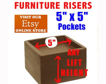 """5"""" x 5"""" Top Pocket Furniture Risers, Bed Lifters - Custom Sizes, All Wood"""